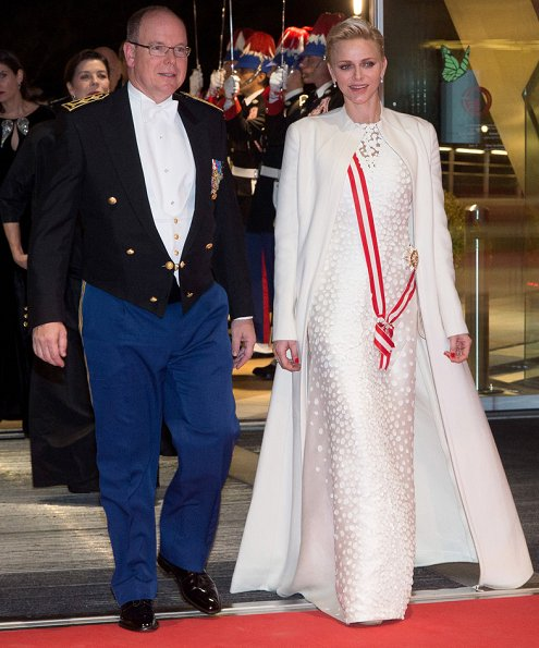 Prince Albert, Princess Charlene, Princess Caroline of Hanover, Andrea Casiraghi and Tatiana Santo Domingo. Style, fahions, Gucci, Emilia Wickstead dress, Christian Dior gown, Valentino gown