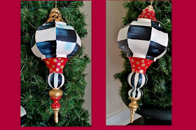 black and white check hand painted Christmas ornaments