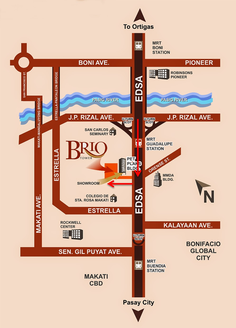 Brio Tower Location Map