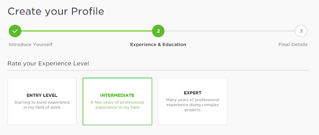Rate your experience level | Profile - 2 | upwork™