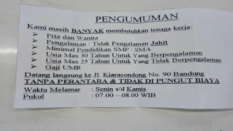 Lowongan Kerja Pabrik Di Kota Bandung Lowongan Kerja Terbaru Indonesia 2021