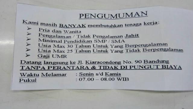 Lowongan Kerja Pabrik di Kota Bandung