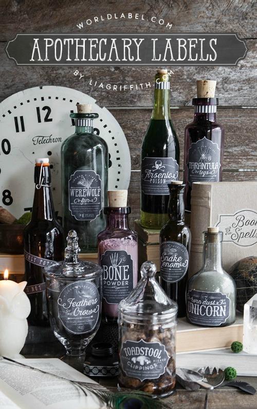Etiquetas de Halloween para botellas y botes de cristal