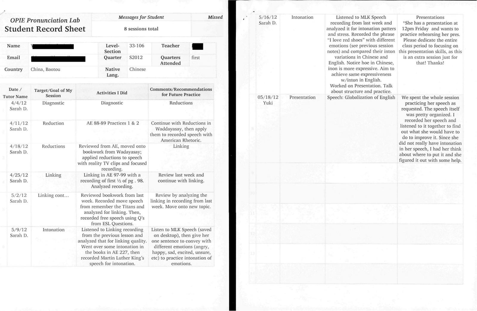 Teaching Portfolio: OPIE Pronunciation Lab Lesson Plans