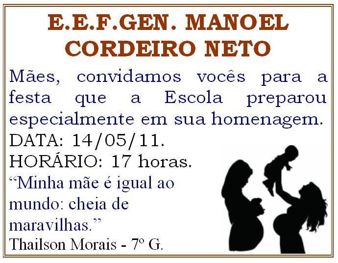 Escola Manoel Cordeiro Neto Convite Da Festa Do Dia Das Mães