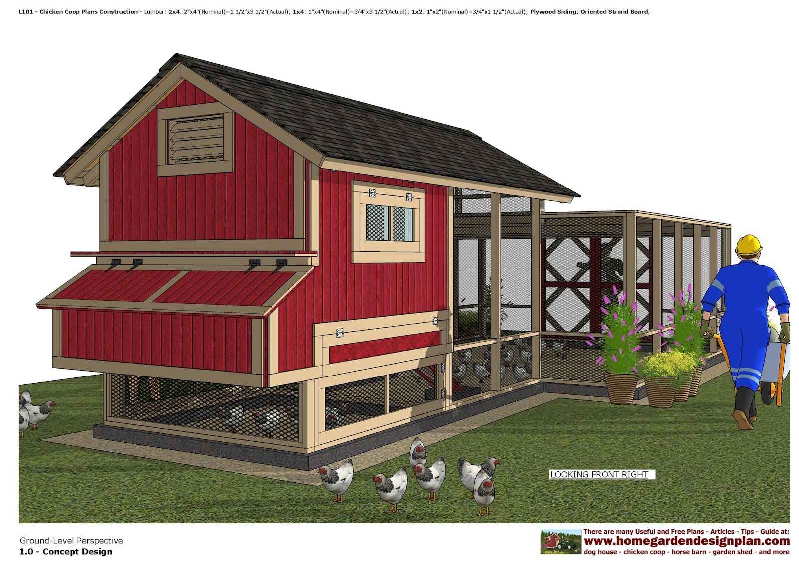 Home garden plans l101 chicken coop plans construction for Plans for a chicken coop for 12 chickens