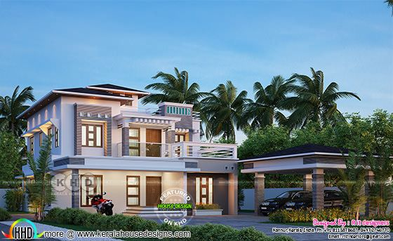 Modern residence in Kerala with 4 bedrooms