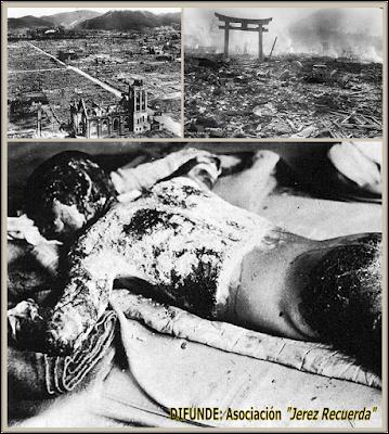 """Parte superior: Hiroshima (izquierda) y Nagasaki (derecha) arrasadas tras los lanzamientos de las bombas """"Litle Boy"""" y """"Fat Man"""" respectivamente. Parte inferior: una de las víctimas quemadas de Hiroshima."""