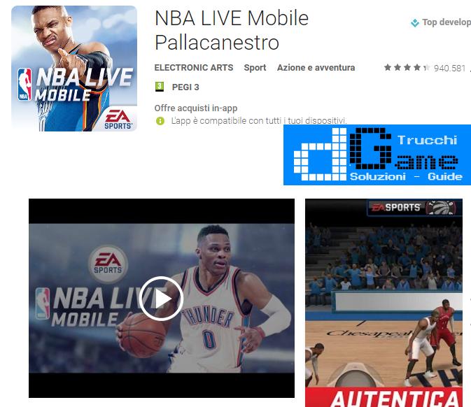 Trucchi NBA LIVE Mobile Pallacanestro Mod Apk Android v1.4.1