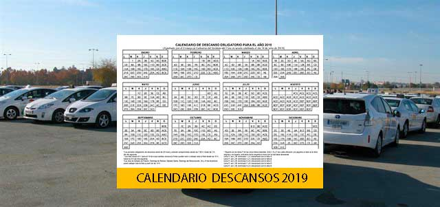 Calendario Descanso taxis Sevilla2019