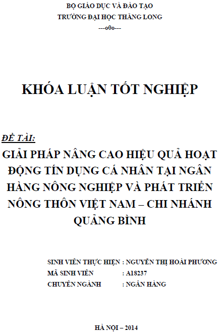 Giải pháp nâng cao hiệu quả hoạt động tín dụng cá nhân tại Ngân hàng nông nghiệp và phát triển nông thôn Việt Nam Chi Nhánh Quảng Bình