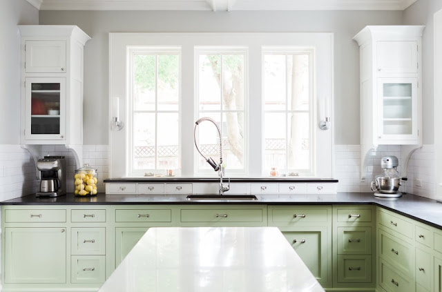 Modern farmhouse kitchen with bright green Shaker cabinets on Hello Lovely Studio