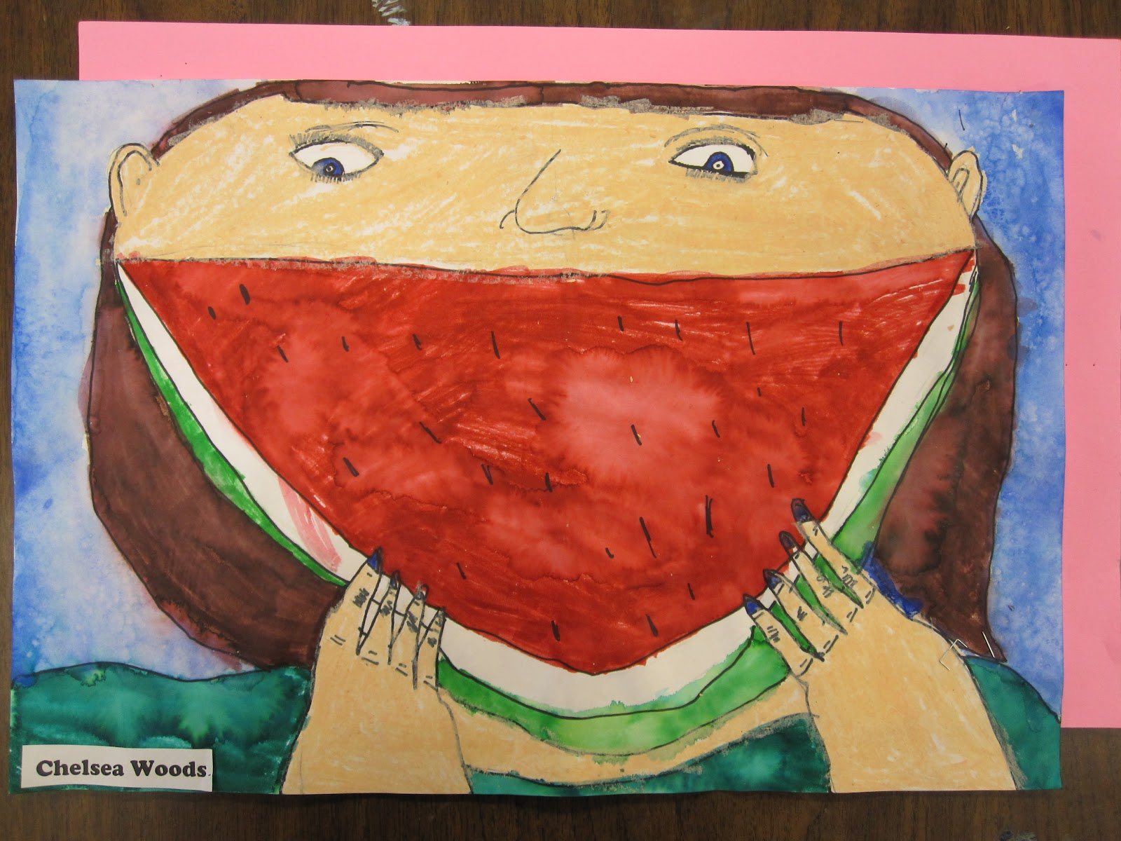 Lake And Hartville Elementary Art Watermelon Faces Lesson In Overlapping