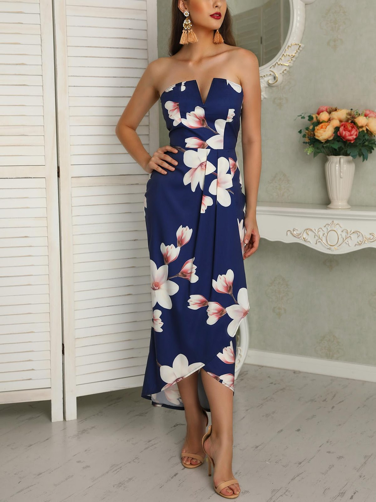 Floral Strapless Wrapped Maxi Dress