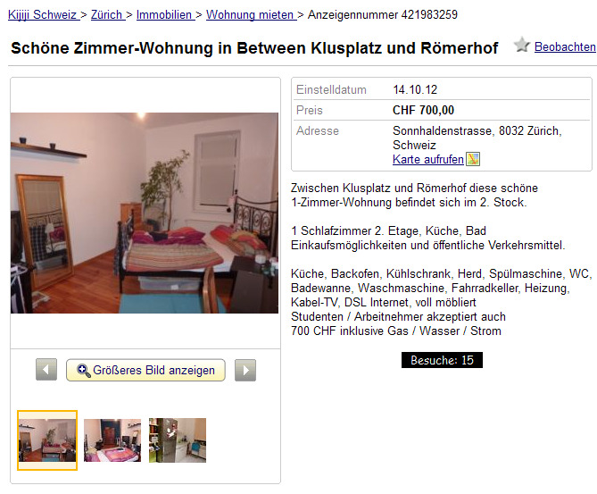 z rich informationen ber wohnungsbetrug. Black Bedroom Furniture Sets. Home Design Ideas