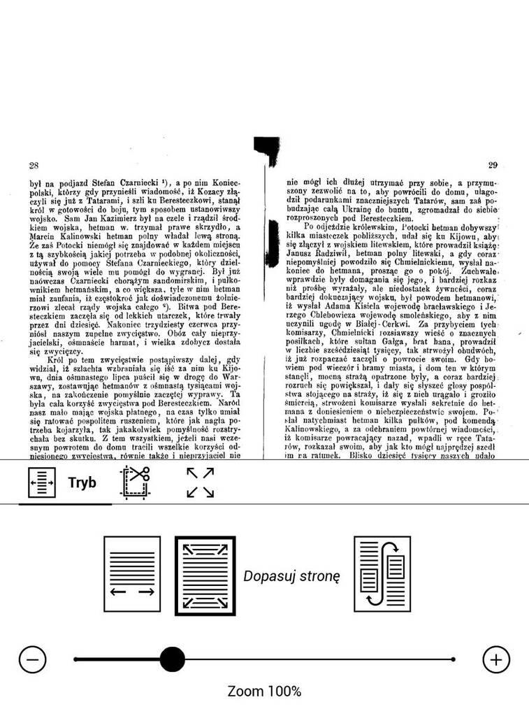 PocketBook Touch HD 3 – plik DJVU przez włączeniem trybu kolumnowego