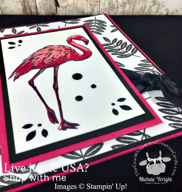 Card, Fabulous Flamingo, Tropical Escape Paper, Trio Punch, Stampin Up