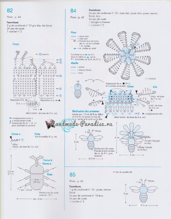 Схемы вязания бабочек и насекомых амигуруми (2)