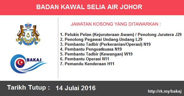 Jawatan Kosong di Badan Kawal Selia Air Negeri Johor