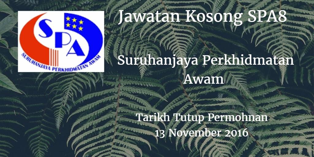 Jawatan Kosong SPA8 13 November 2016