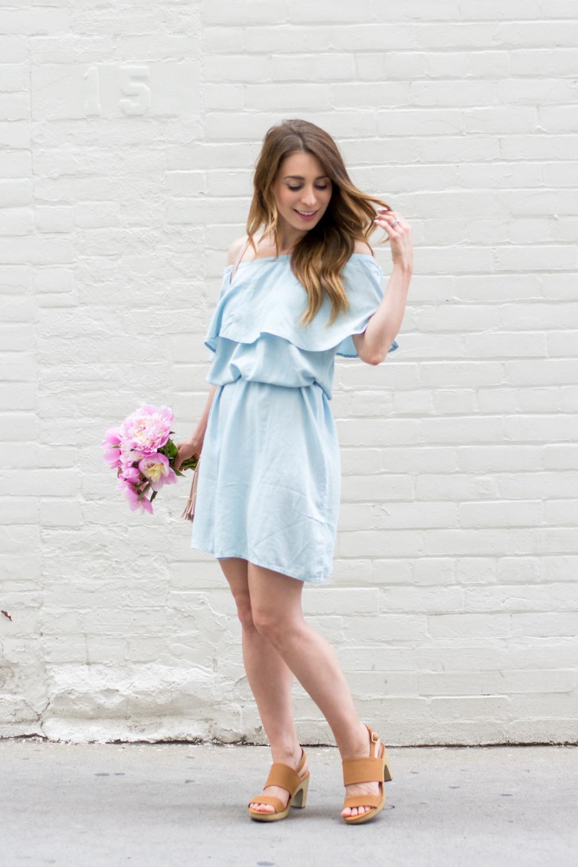 3e1cbaf1548c OOTD - Blue Off The Shoulder Dress