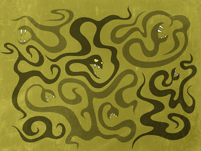 Snakes resembling tentacles on green background