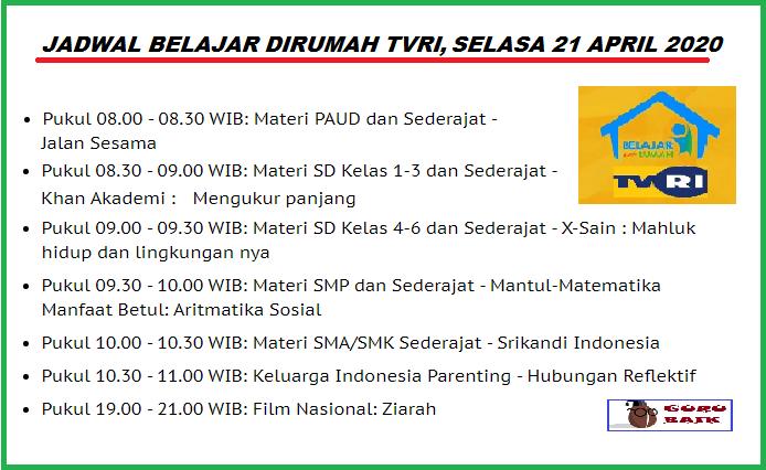 jadwal belajar di TVRI 21 April 2020