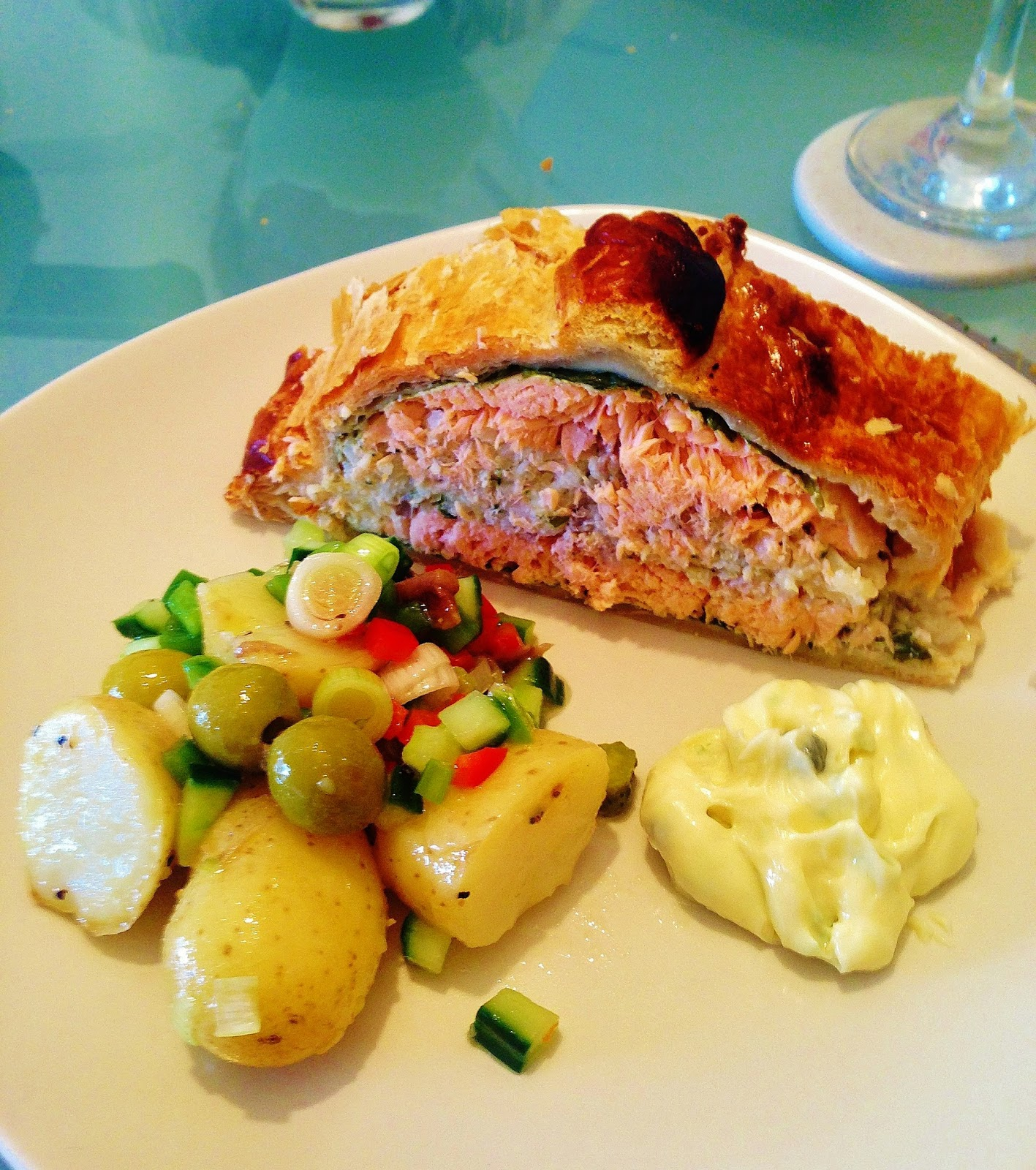 Salmon Coulibiac served with Potato Salad, Anchovies & Olives accompanied with Caper Mayonnaise