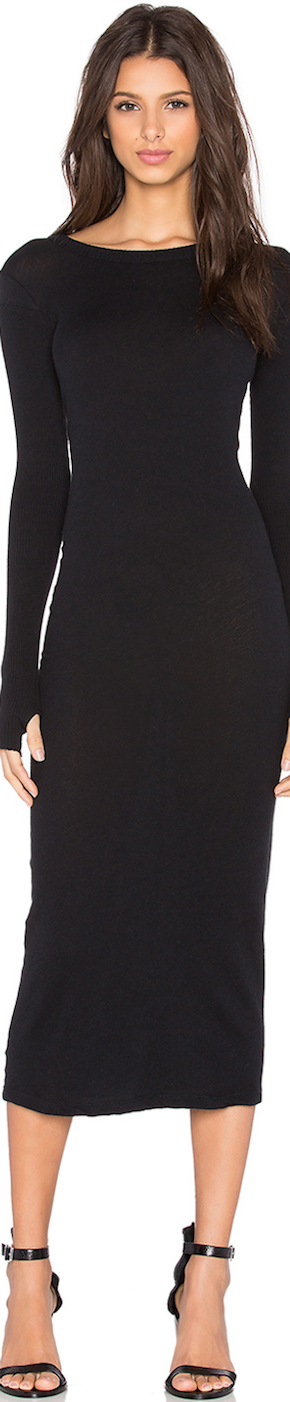 Enza Costa Cashmere Long Sleeve Crew Neck Dress