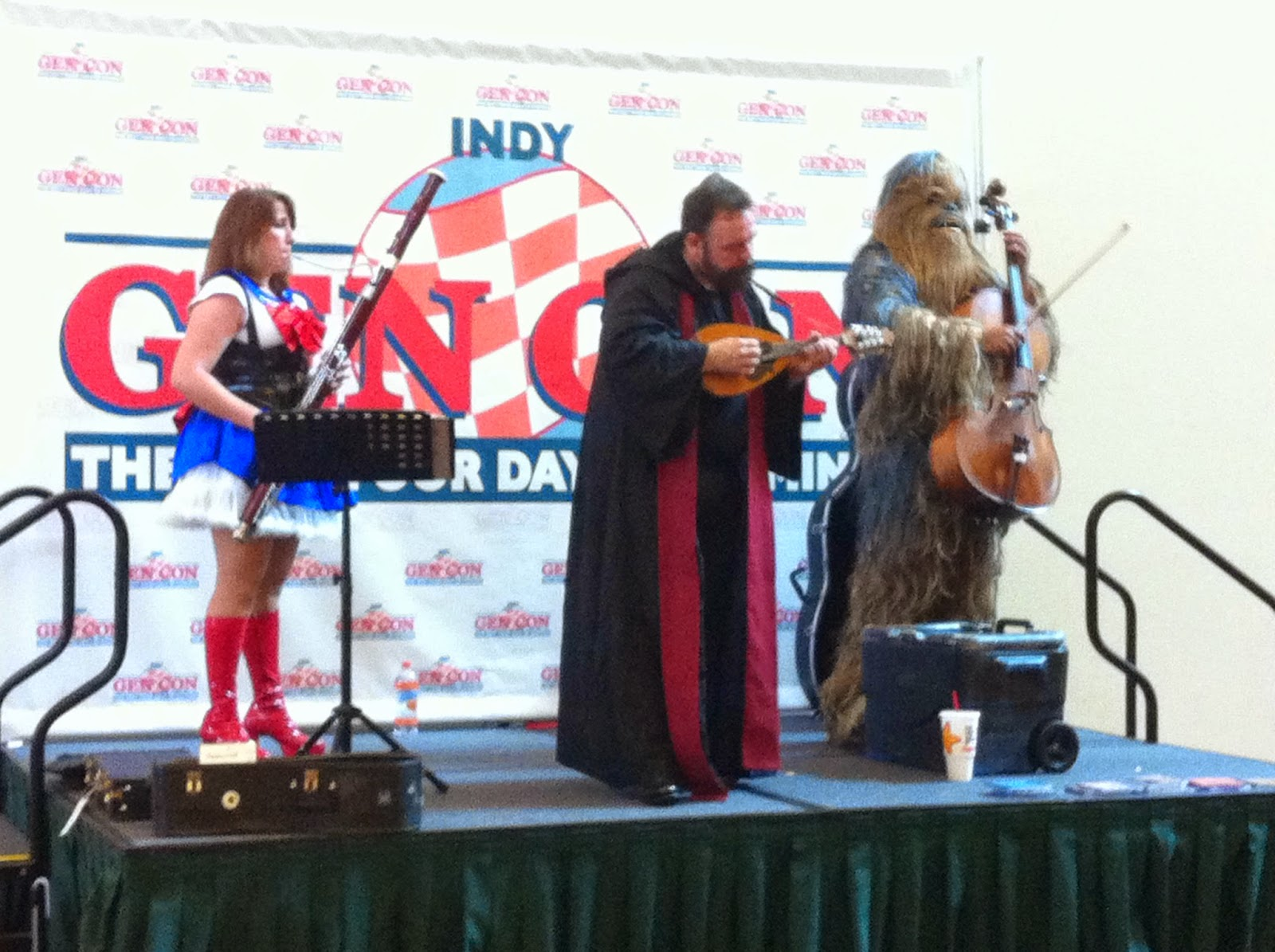 Watching a band with a Wookiee on cello.