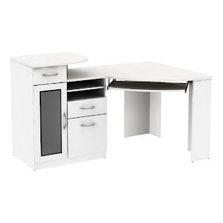 Lovely Bush Signature Vantage White Corner Desk With Drawers Part 7