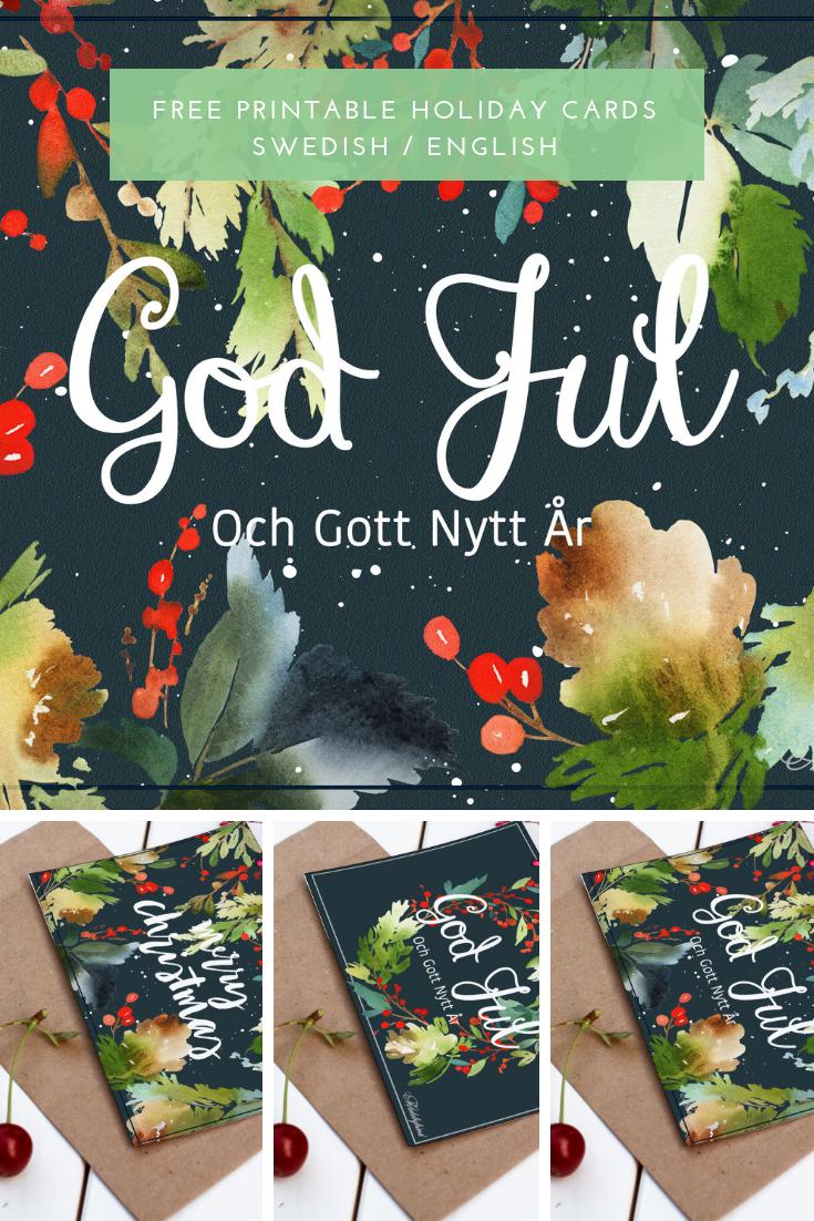 FREE Printable Holiday Cards Swedish/English - MadeByHind