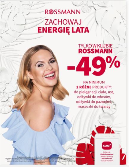 Promocja w Rossmannie -49% na kosmetyki do pielęgnacji ciała, twarzy i włosów w sierpniu 2017