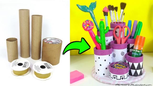 ideias com rolos de papel