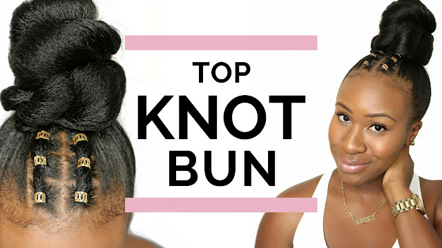 Top Knot Bun + Hair Jewelry Protective Style | HairliciousInc.com