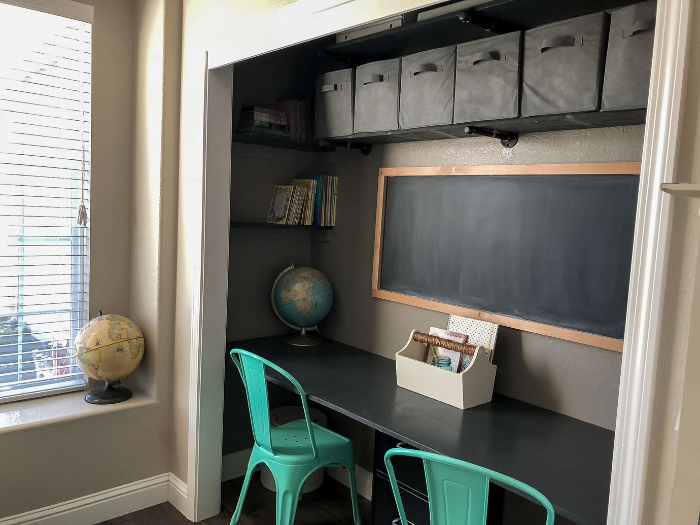 Closet Desk with Mint Green Metal Chairs and Vintage Globes
