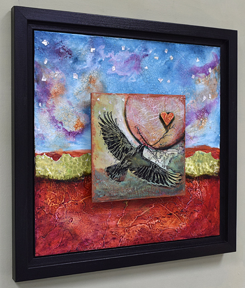 silver moon with flying raven square painting