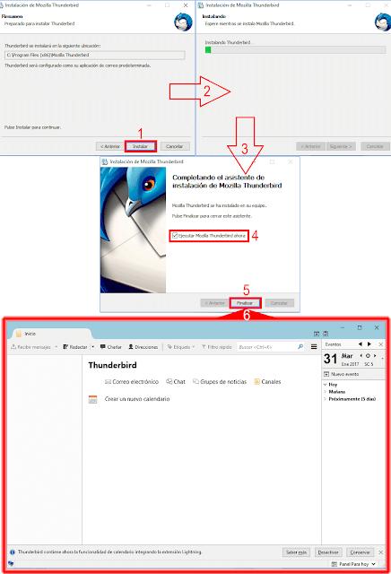 Asistente de instalación - Mozilla Thunderbirt primer inicio.