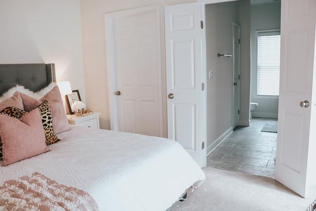 bedroom view into bathroom