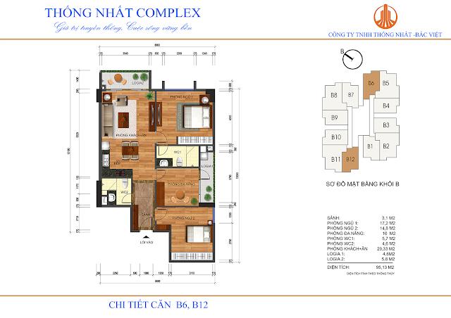 Thiết kế căn hộ B6 B12 Thống Nhất Complex - Dt 95m2