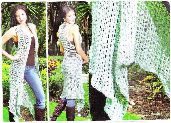 Guardapolvo chaleco largo con picos en crochet
