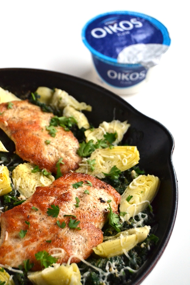 Spinach Artichoke Chicken is a lighter version of your favorite spinach artichoke dip made with Greek yogurt for an impressive and easy dinner! www.nutritionistreviews.com