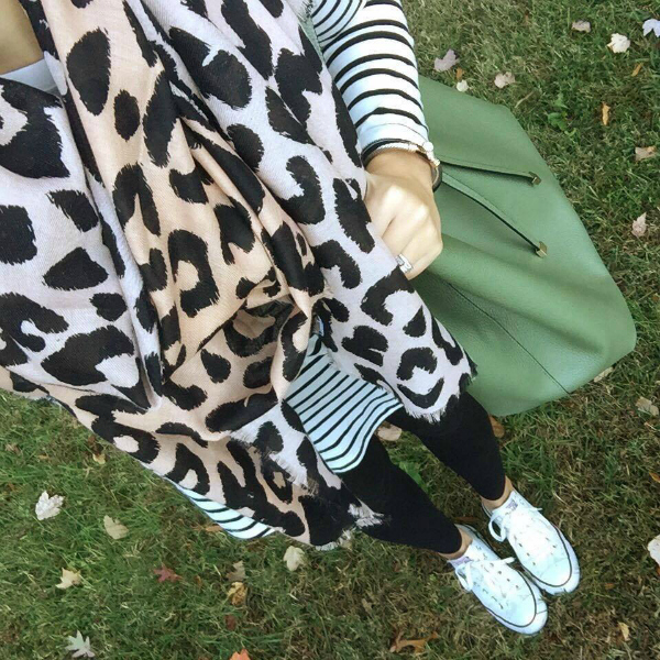 how to pattern mix, leopard scarf