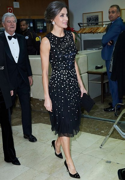 Queen Letizia wore Carolina Herrera Sequin Dots Detailing Dress and Magrit pumps. Diamond earrings