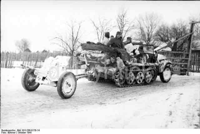 German 3.7 cm Pak gun being towed, 19 October 1941 worldwartwo.filminspector.com