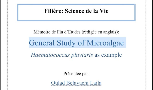 General Study of Microalgae - Exemple d'une bon PFE