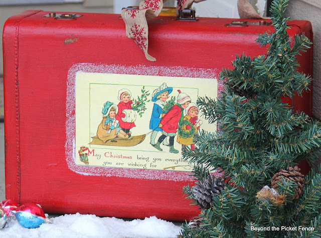 12 Days of Christmas Vintage Suitcase http://bec4-beyondthepicketfence.blogspot.com/