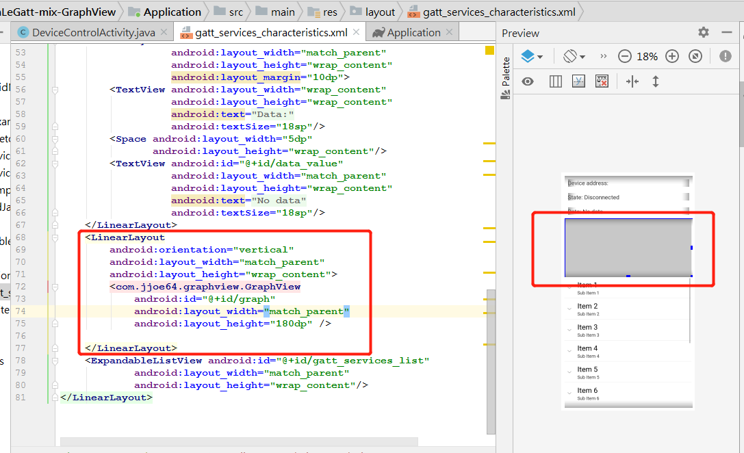 Programming notes: Android : google BLE example mix GraphView