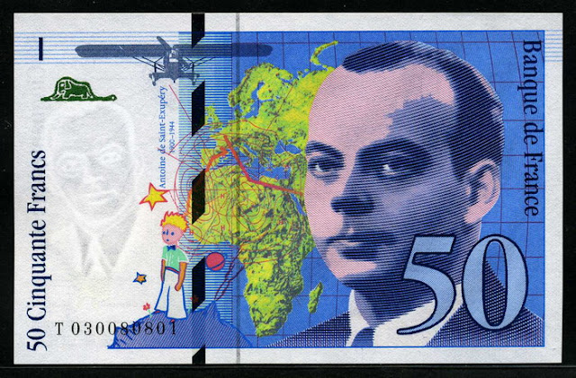 France money currency 50 French Francs Antoine de Saint-Exupéry banknote