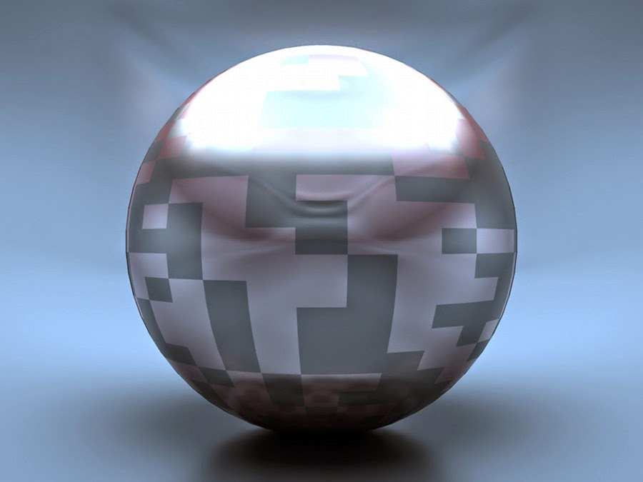 A 3d-render of a sphere used to illustrate artifacts of insufficient color precision